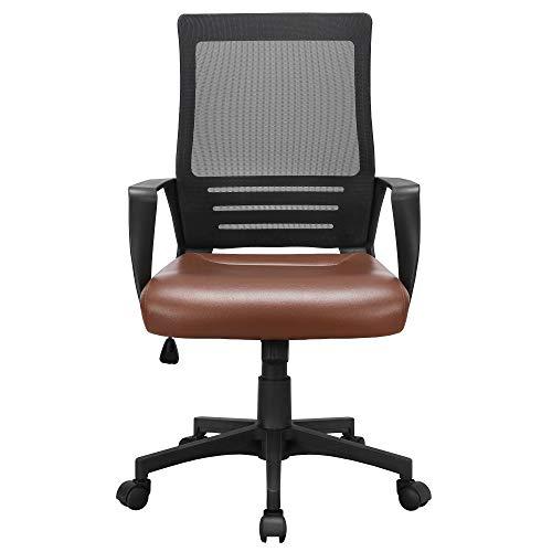 sedia ufficio marrone Yaheetech Sedia Ufficio Ergonomica da Scrivania a Rotelle Girevole in Rete e Ecopelle Reclinabile Altezza Regolabile Elegante Marrone e Nero