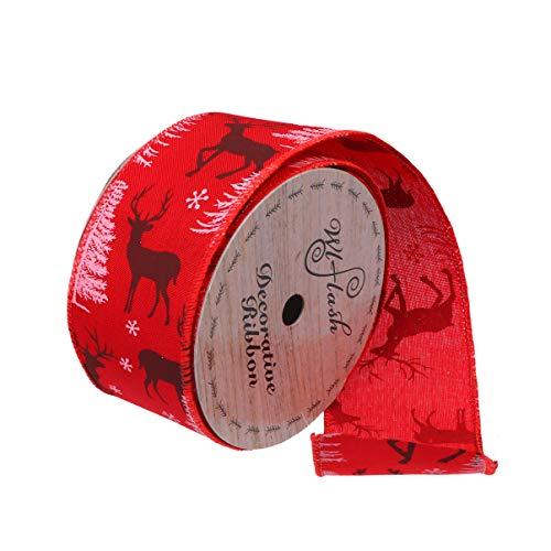 NUOBESTY Papel de Regalo Cinta decoración de Navidad DIY Boda Fiesta de cumpleaños Favor decoración Alce Rojo