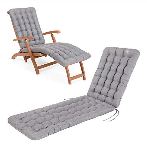 HAVE A SEAT Luxury - Deckchair Auflage, Bequeme Liegestuhl Polsterauflage, waschbar bei 95°C, Trockner geeignet, UV-Beständig, Made in Germany (180 x 50 cm, Hellgrau)
