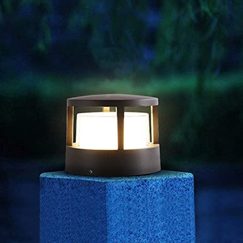 WRMING LED Poste de Jardin Exterior, Moderno Diseño Farola de Jardin, IP65 Impermeable Lámpara de Pared, Balcón Aluminio Lámpara de Techo, Negro, 3000K Blanco Cálido