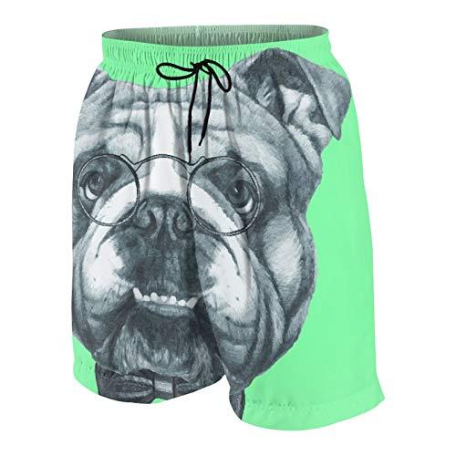 KOiomho Hombres Personalizado Trajes de Baño,Retrato bosquejado de un Bulldog Inglés de Caballeros con Gafas,Casual Ropa de Playa Pantalones Cortos