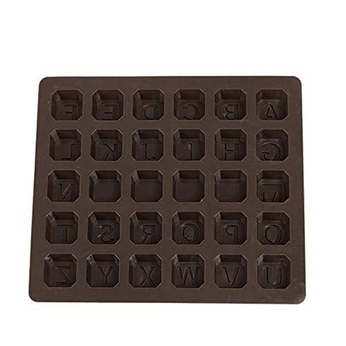Juego de 26 moldes de silicona para chocolate, moldes antiadherentes, moldes para tartas, para hacer jabón, fondant, bombas de cacao, gelatina, pudín, bandeja de cubitos de hielo marrón para hornear