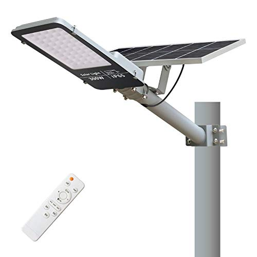 CHXI 300W Solar Street Lights Outdoor Lamp, IP65 Waterproof 7500Lumens 6000K LED, with Remote Control,Light Control, Dusk to Dawn Security Led Flood Light for Yard, Garden, Street, Basketball Court.