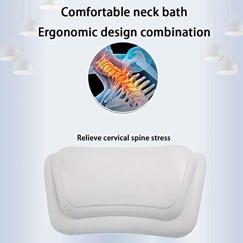 HYCZW Bath Pillow, Bath Pillow with 2 Suction Cups, Ergonomic Home Spa Bath Cushion for Headrest, Neck