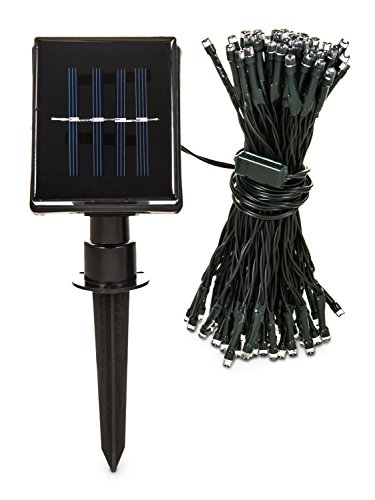 Hillington  Set of 100 Solar String Light Bright White Hanging Wall Mounted Weatherproof Waterproof Solar Powered Rechargeable Colourful Outdoor Garden Path Fence Wall Walkway Decking Patio (White)
