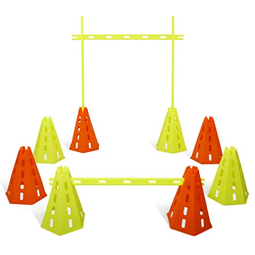 Yes4All Speed Agility Hurdles Cone Set for Speed and Balance Exercises for All Ages, Suitable for Dog Training, Include Carry Bag - Set 8 Cones & 4 Green Bars
