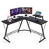 Coleshome L Shaped Desk, 51' Home Office Desk with Shelf, Gaming Computer Desk with Monitor Stand, PC Table Workstation with Shelf, Black