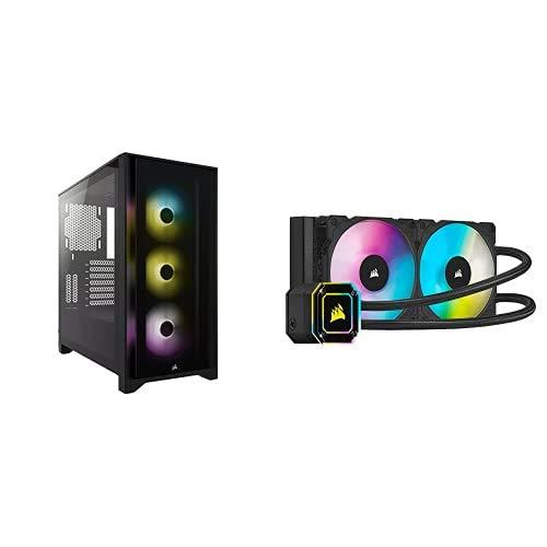 Corsair iCUE 4000X RGB Mid-Tower ATX PC Case - BlackCorsair iCUE H100i Elite Capellix Liquid CPU Cooler