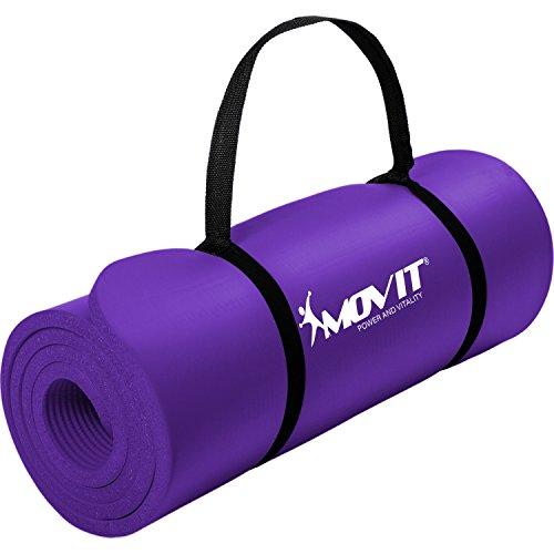 Movit Pilates Gymnastikmatte, Yogamatte, phthalatfrei, 183 x 60 x 1,0cm, Yoga Matte in Lila