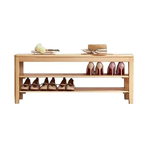 HIZLJJ Bastidores de zapatos de zapatos de almacenamiento en rack de bambú zapatero Bench, 2 niveles de bambú del zapato del organizador del almacenaje del estante Ideal for Puerta de entrada del vest