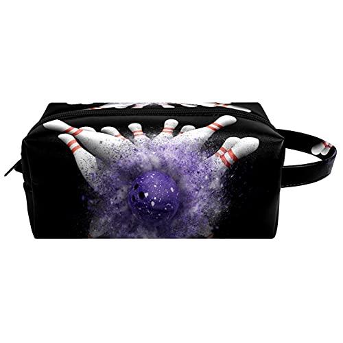 Anmarco Bowling schwarze Reise-Kulturbeutel, Kosmetiktasche für Frauen, Mikrofaser-Leder, Make-up, praktischer Beutel, Organizer mit Reißverschluss