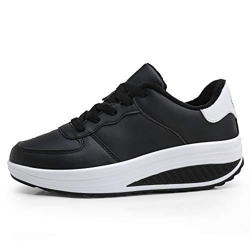 Zapatos de Plataforma de Cuero de imitación de tacón de cuña de Las Mujeres Zapatos de Plataforma de Cuero sintético Zapatos para Caminar con Suela Rocker Zapatos de Fitness con Cordones