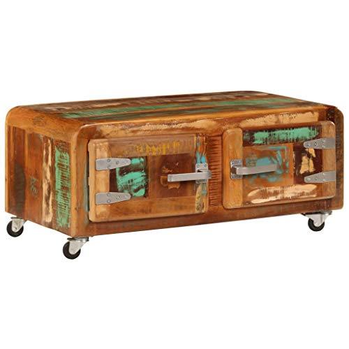 Festnight Couchtisch mit Rollen | Holz Wohnzimmertisch mit Stauraum | Retro Sofatisch | Wohnzimmer Holztisch | Vintage Kaffeetisch | Recyceltes Massivholz 80 x 55 x 40 cm