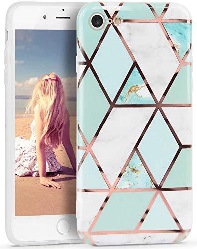 CIUTEK Coque iPhone 8,iPhone 7 Marbre Brillante Or Rose,Coque Marbre pour Complète de Protection Antichoc Bumper Cover en TPU Souple pour iPhone 7/8 4.7 Pouces-Vert Blanc