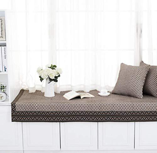 BOXLVSYX Fashion Holzmaserung Fensterbankkissen/Modern Gestreifte Fenstermatte/handgefertigte schwebende Fenstermatte/Vierjahreszeiten geeignet für Zuhause Balkonkissen/Vorhang, 110 x 180 cm