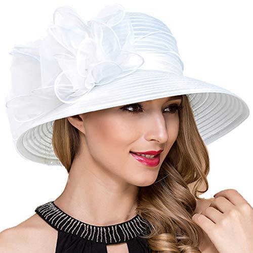 Ruphedy Damen Ascot Derby Kirche Hüte Britische Hochzeit Tee-Party Sonnenhut S051 (Weiß)