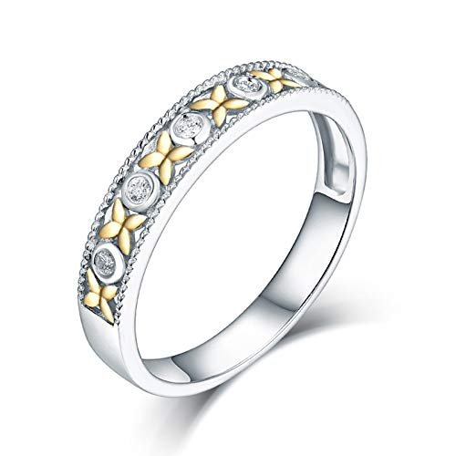 AnazoZ Anillos Compromiso Mujer Diamante,Anillo de Oro Blanco 18 Kilates Mujer Plata Oro Redondo con Flor Diamante 0.05ct