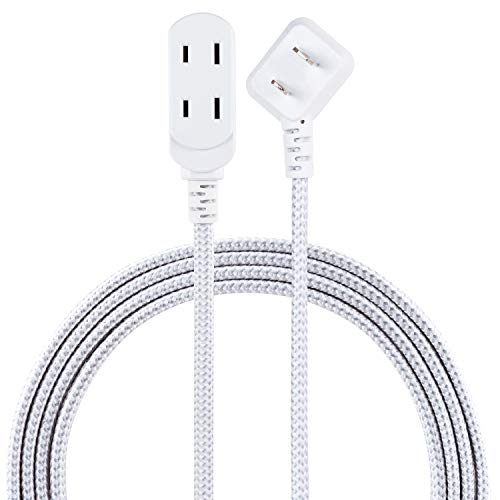 Cordinate, Gray/White, Designer 3 Extension Cord, 2 Prong Power Strip, Extra Long 8 Ft Cable with Flat Plug, Braided Chevron Fabric, Slide-to-Lock Safety Outlets, 39980