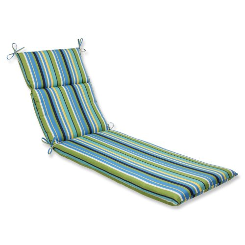 Pillow Perfect Outdoor/Indoor Topanga Stripe Lagoon Blue Chaise Lounge Cushion, 72.5' x 21'