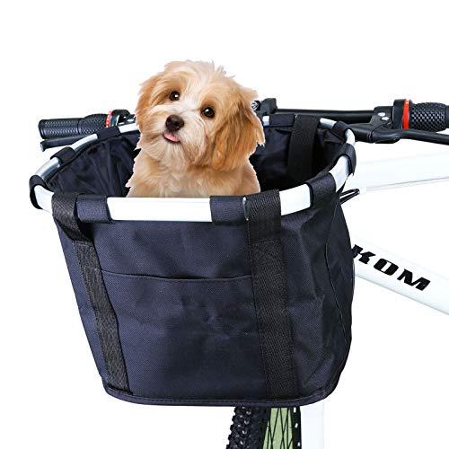 WILDKEN Cestino Anteriore Bici Staccabile, Cestino Multiuso per Biciclette da Trasporto per Animali Domestici, Borsa per la Spesa, Custodia per Pendolari, Campeggio all aperto (Nero)