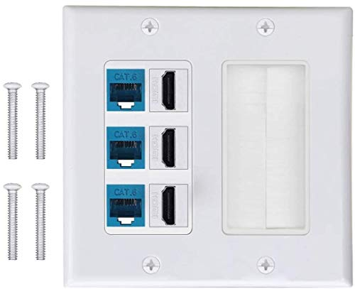 3 CAT6 RJ45 Ethernet + 3HDMI HDTV Type Keystone Face Plate IQIAN Brush Wall Plate, Wall Socket for HDTV, HDMI, Home Theater Systems.