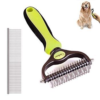Kit d'outils de toilettage pour animaux domestiques - 2 côtés - Peigne de démêlage pour chiens et chats - Râteau de toilettage sûr pour tapis faciles - Sous-manche, enlève les poils