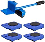 JISHIYU-S 360 ° Practical Mover Muebles Sistema de Herramienta for Heavy Muebles y Aparatos de elevación (1 elevación Rod y 4 Muebles Rodillos Que se mueven)