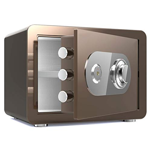 Dozen & Organisatoren Veiligheid Staal Brandwerende Mechanische Wachtwoord Sleutelslot Staal Geld Box 38X30X30cm Elektronische kluis Beveiliging 10-16 Coffee Gold