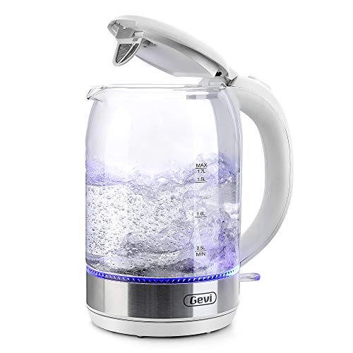 Electric Kettle, Gevi 1.7L Glass Tea Kettle - Water Boiler with LED Light, Glass Kettle Electric (BPA Free) with Fast Boiling, Auto Shut-off & Boil-dry Protection - 1500W Cordless Electric Kettle