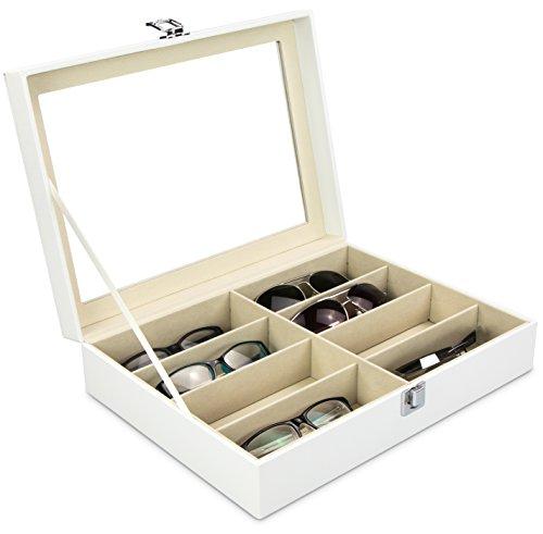 Grinscard Brillenbox zur Aufbewahrung von 8 Brillen - Weiß 34 x 25 x 8 cm - Sonnenbrillen Präsentation Brillendisplay
