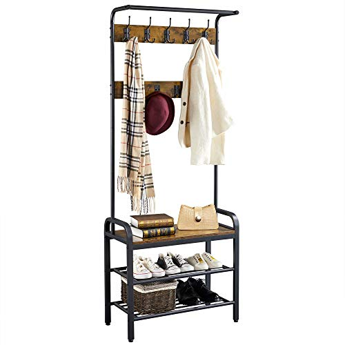 YAHEETECH Coat Rack Hall Tree, Vintage Shoe Bench with Storage Shelf, Industrial Accent Furniture with 23 Metal Hooks, 3-in-1 Design Steel Frame for Entryway/Hallway, Easy Assembly (Rustic Brown)