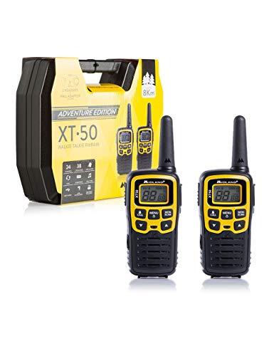 Midland C1178.01 XT50 Adventure Radio Middle Range Ricetrasmittente Walkie Talkie - Colore Giallo - Formato 24 Canali, Raggio 8 km, 38 Toni - Set di 2 Ricetrasmettitori con Box Full Optional