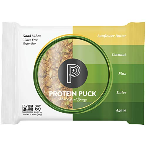 Protein Puck Protein Bars, Good Vibes, Case of 16 - High Protein Snacks with 13 grams of Vegan Protein - Gluten-Free, Non-Dairy, Non-GMO Breakfast Snack Bar - Premium Plant-Based Healthy Snacks