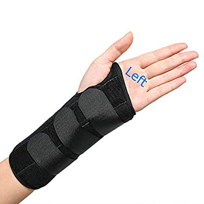 TANDCF Wrist Brace for Carpal Tunnel,Adjustable Night Wrist Support Brace with Splints Left Hand For Women & Men,Suitable For Injuries,Arthritis,Wrist Pain,Sprain,Sports(LH/Small/Medium)