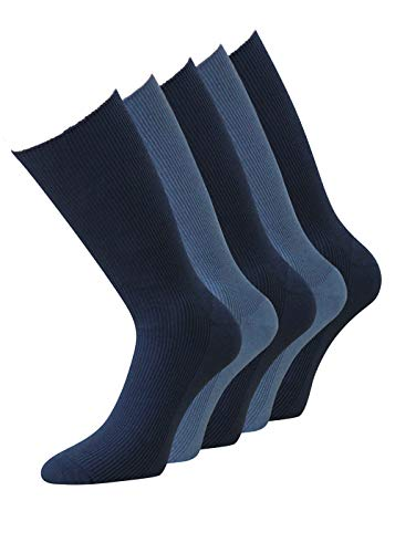 10 Paar Diabetiker Herren Socken ohne Gummi blau Baumwolle (39-42, blaumelange)