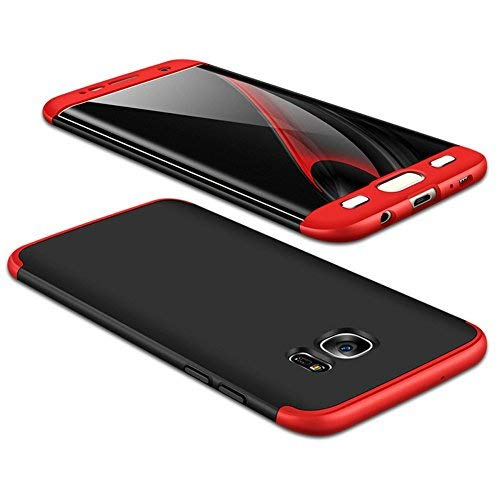 JMGoodstore Kompatibel Galaxy S7 Samsung Hülle,+Panzerglas Displayschutzfolie,3 in 1 Ultra Dünn 360 Full Body Anti-Kratzer Hart PC Skin Glatte Rückseite Bumper Rot+Schwarz