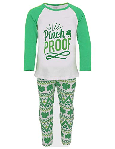 Baby Girls St. Patrick's Day Outfit Pinch Proof Long Sleeve T-Shirts Top Shamrock Clover Legging Pants