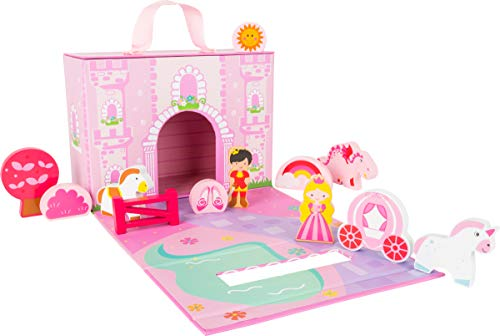 Small Foot Wooden Toys Princess Castle Themed playworld in a Carrying case Designed for Children 3+
