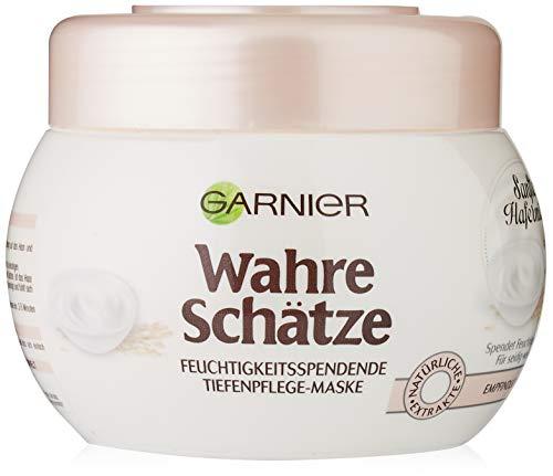 Garnier Wahre Schätze Feuchtigkeitsspendende Tiefenpflege-Maske Sanfte Hafermilch, pflegt, schützt und beruhigt, für empfindliches Haar, 1er-Pack (1 x 300 ml)