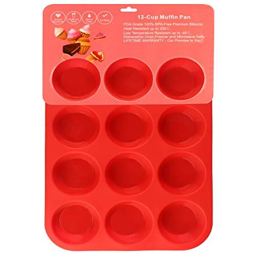 Philonext Pan - Bandeja roja de silicona con 12 huecos para magdalenas,...