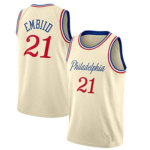 OOFAY Herren-Basketballtrikot Philadelphia 76Ers-Trikot, 21 Joel Embiid / 25# Ben Simmons, Ärmelloses Besticktes Mesh-Basketballtrikot-Tanktop,21,L