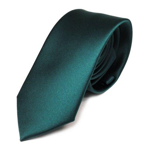 TigerTie schmale Satin Krawatte in grün petrol dunkles türkis einfarbig uni