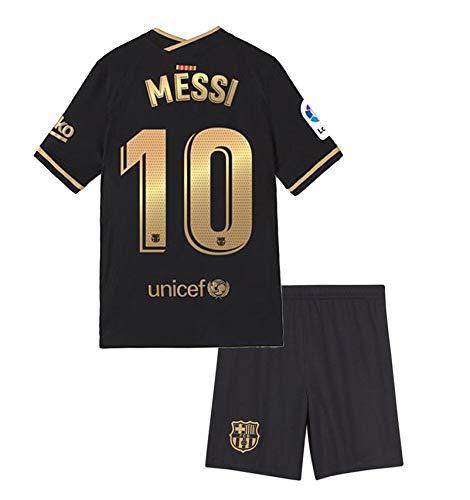 Domjurtd Messi #10 Kids/Youths Sportswear Barcelona 2020/2021 Season Away Soccer Black/Gold Jersey/Shorts Size 26