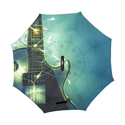 XiangHeFu - Paraguas invertido de Doble Capa, luz y Guitarra eléctrica, Plegable,...