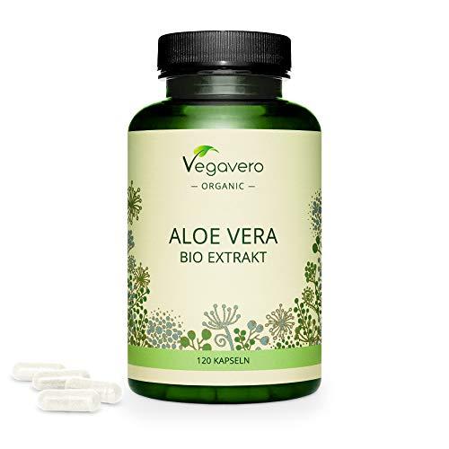 BIO ALOE VERA Kapseln Vegavero® | Extrakt aus Aloe Vera Gel 100 Prozent Pur | QUALITATIVE ALTERNATIVE zu Aloe Vera Saft & Pulver | Verdauung & Darm | Bio-Anbau in Spanien | 120 Kapseln | Vegan