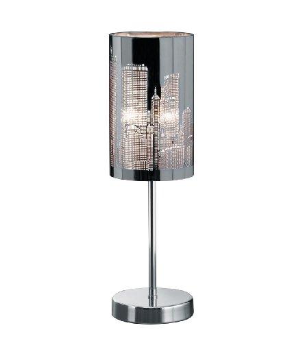 Trio Leuchten Tischleuchte in Chrom, Schirm Edelstahl/Laser-Cut Motiv Metropoel, exklusive 1x E14 maximal 40W, Touche-Me Schaltung in drei Helligkeitsstufen, Höhe: 40 cm 598400106