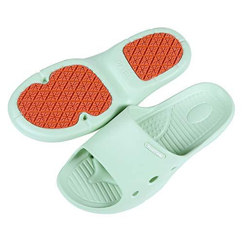 shevalues Ultra Anti-Skid Shower Sandals for Women Lightweight Quick Dry Shower Shoes, Light Green, 7.5-8.5 Women/6.5-7.5 Men