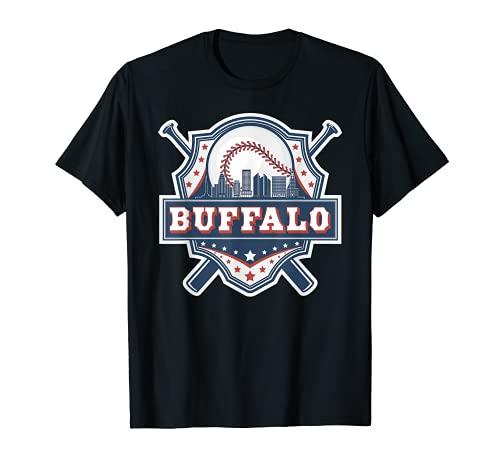 Buffalo Baseball Skyline Cityscape Classic Retro Baseball T-Shirt