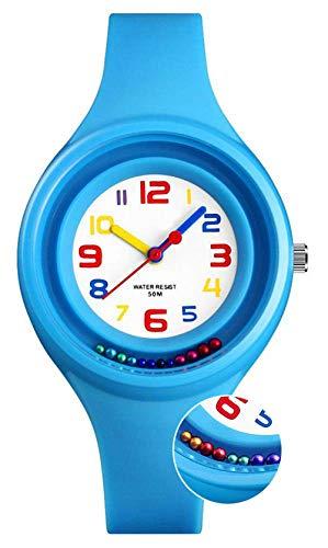 Kinder Digitaluhren für Jungen Uhren, 5 ATM Wasserdicht Sportuhr Uhr für Kinder Geburtstag/Weihnachten Geschenke, Jungen Digital Kinderuhren mit drehbaren Perlen für Kleine Kinder Blau
