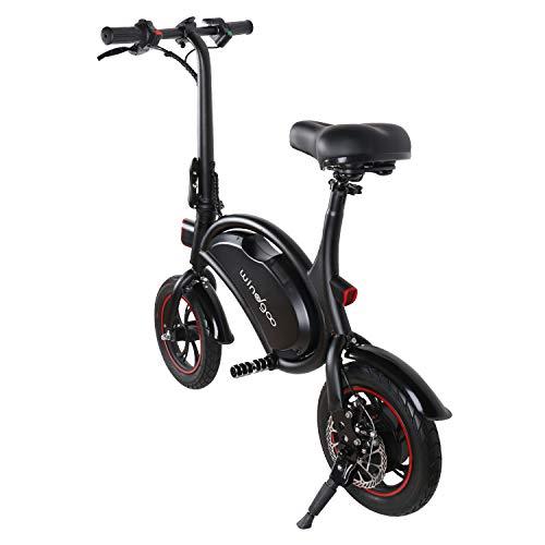 Windgoo Bicicletta Elettrica Pieghevole Adulto 12 Pollici, Autonomia 20km, velocità Massima 20 km/h, Senza Pedali, Sedile Regolabile, Portatile e Leggero, Motore 350W Batteria 36V 6,0 Ah (Nero)